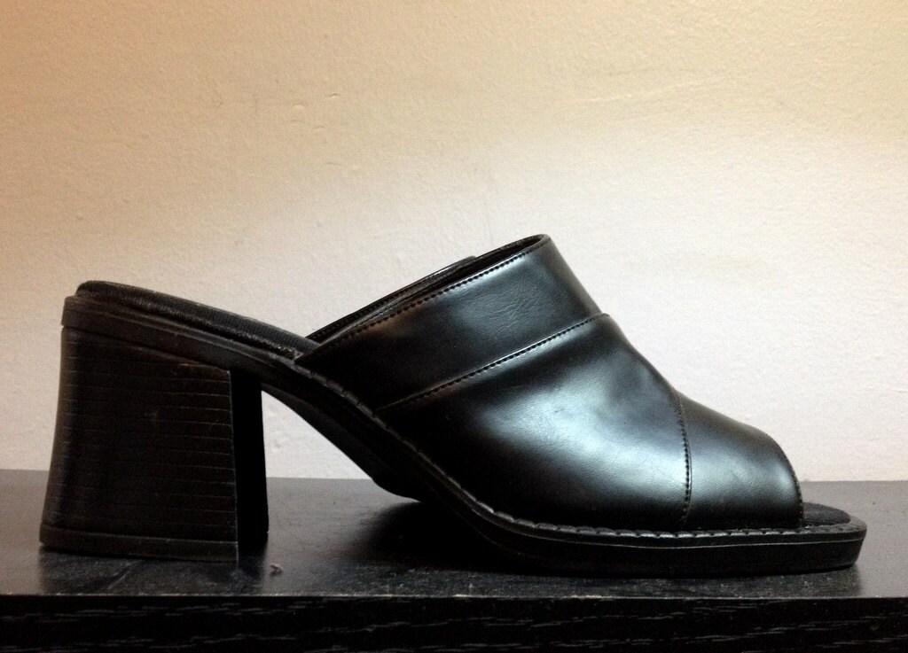 SALE 1990s Black Platform Sandals 90s Slip On Platform Slides