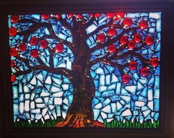 Mosaic Glass Apple Tree