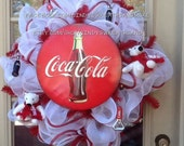 Coca Cola Wreath, Custom Wreath, Deco Mesh, Mesh Wreath, Poly Mesh, Door Decor, Collectible, Game Room Wreath