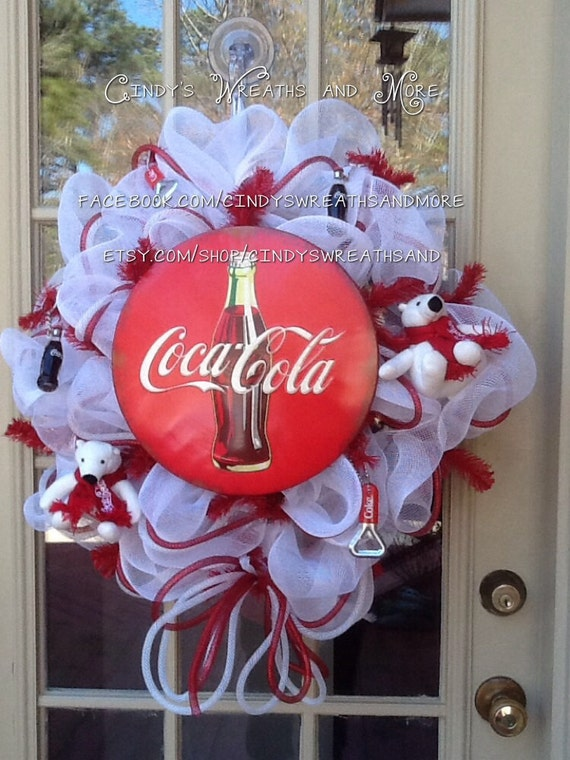 items similar to coca cola wreath custom wreath deco mesh mesh wreath poly mesh door decor. Black Bedroom Furniture Sets. Home Design Ideas