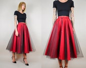 ON SALE 50's Deck the Halls tulle Circle Skirt