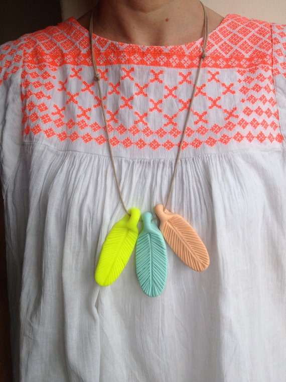 Peach Neon Yellow And Duck Egg Blue Handmade By