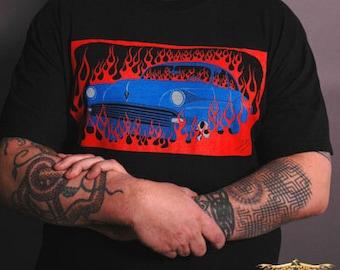 Vulture Kulture's Classic Blue Hot Rod in Flames Men's T-shirt