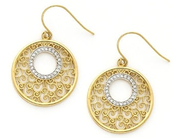 Diamond Earrings, Gold Earrings, Circle Earrings, Filigree Earrings, Designer Jewelry, Earrings, Gold Jewelry, 14k Earrings