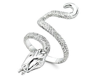 Sterling Silver Curled Snake Ring, Snake Ring, Snake, Snake Jewelry, Snakes, Snake Slithering, Snake Design, Python