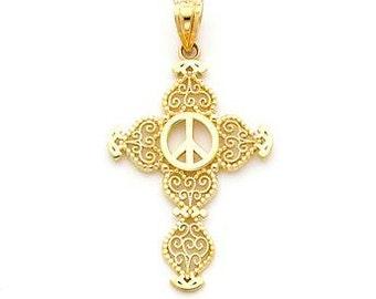 14K Yellow Gold Peace Cross Pendant, Cross Pendant, Peace Pendant, Cross Jewelry, Peace Jewelry, Religious Jewelry, Faith Jewelry