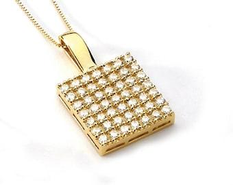 14K Yellow Gold Cubic Zirconia Pendant, Gold Pendant, Cubic Zirconia Pendant, CZ Pendant, Fancy Pendant, Fashion, Fancy Jewelry, CZ Jewelry