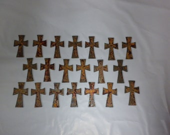 Lot of 20 Rough and Rusty Crosses 2.5 inch Metal Art Ornament Magnet Stencil Wind Chime Craft