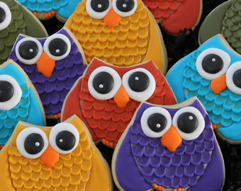 Owl cookie favors, funny owls, Sorority Decorated Cookies, college Fall Cookies, Owl Cookies, Halloween cookies, owls, Thanksgiving Cookies