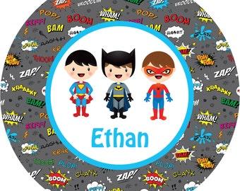 Personalized Boy Superhero Melamine Plate