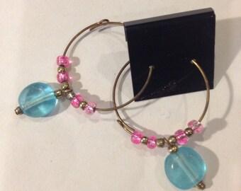 Pink and Light Blue Hoop Earrings