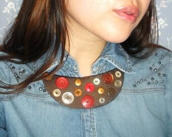 Brown Faux Stingray Skin Bib Necklace with Vintage Button Detail