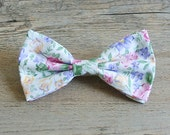 Flower Bow, Flower Hair Bow, Pastel Bow, Flower Tie, Bow Tie, Spring Bow, Bowtie, Hairbow, Mens Bow Tie, Hair Accessories