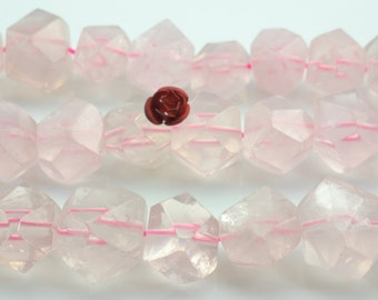 A grade 15 inches of Natural Rose Quartz faceted  Nugget Chunks  beads in in 11x13mm-14x18mm