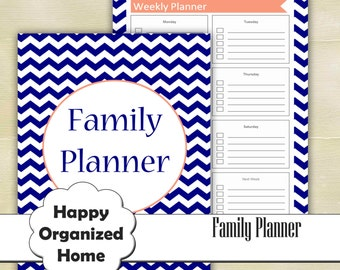 Organization Family Planner printable Mom Organizer Household Binder Printable Blue Chevron Weekly planner Family Calendar