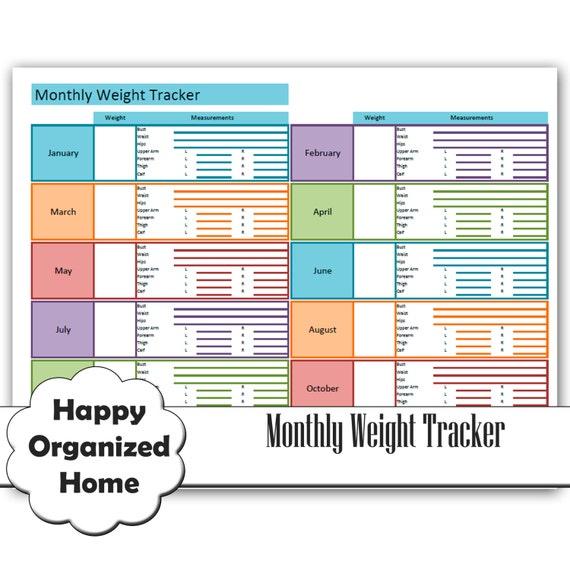 Weight Loss and Measurement Progress Chart, Weight Loss Tracker ...