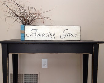 Amazing Grace Sign, Amazing Grace, Bible Verse Sign, Scripture Sign, Hymn Sign, Rustic Sign, Housewarming Gift, Gift for Pastor, Wall Art