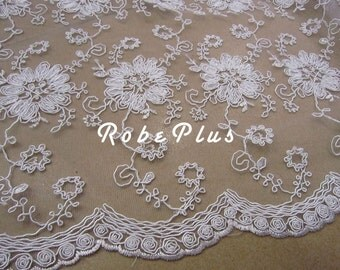 Floral Embroidered Organza Lace Fabric - White Floral Lace - White Lace Fabric - White Organza Fabric - L26
