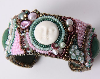"Bead embroidered bracelet ""Moon"""