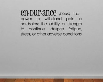 Endurance Dictionary Definition Wall Sticker, Dictionary Wall Decal, Quote Wall Art, Word Wall Transfers, Gym Wall Stickers - DE005