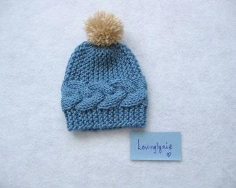 Hand knit cable beanie / blue beanie / beanie