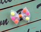 Neon Pom Bow/Headband