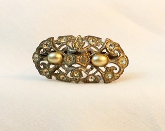 Art Deco antique vintage silver tone rhinestone and faux pearl brooch pin