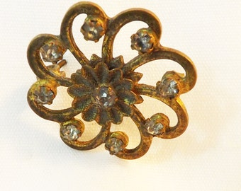 Vintage brass swirl brooch 1930s brooch