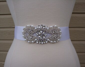 Bridal Sash - Wedding Dress Sash Belt - Rhinestone and Pearl White Wedding Sash - White Rhinestone Bridal Sash