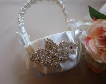 Flower Girl Basket - Rhinestone Flower Girl Basket - Wedding Basket - Satin Flower Girl Basket