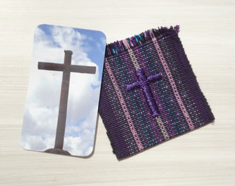 Christian Gift, Prayer Pocket with Prayer Card, Fair Trade, Handwoven Card Holder with Embroidered Cross