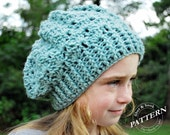 CROCHET PATTERN - Snapdragon Slouch Hat, Slouchy Beanie Pattern, Lace Crochet Hat (Toddler, Child, Adult Sizes) pdf #007H Easy Crochet