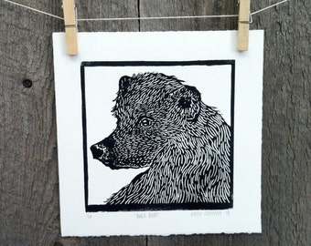Animal Black Bear Linocut Print