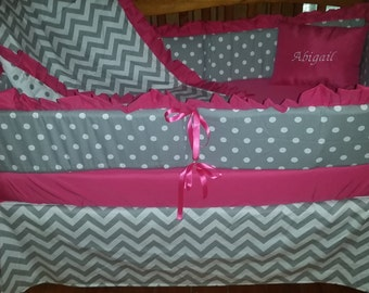 Grey chevron/dot with hot pink 5 piece crib bedding set