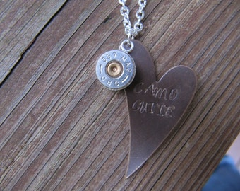 Bullet Jewelry - Bullet Necklace - Camo Cutie Copper Heart  Hand Stamped .357 Special Bullet Necklace - Hunting Necklace - 2nd Amendment