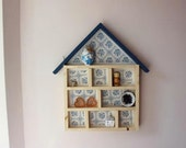 Handmade Wooden Display House- storage, shelving unit. Blue Retro Wallpaper