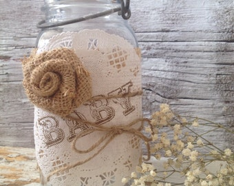DIY Baby Shower Decorations, Shabby Chic Baby Shower Centerpiece, 5 Baby Burlap Mason Jar Centerpiece,  Dena Danielle Designs
