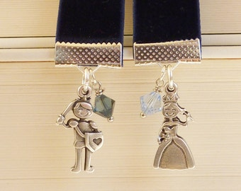 "bookmark "" Knight and princess "" darkblue silver"