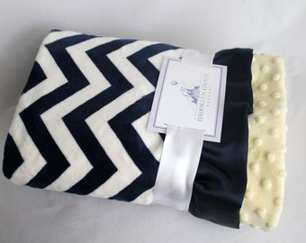 Navy and White Chevron with Pale Yellow Minky Dimple Dot and Navy Satin Ruffle Trim Minky Baby Blanket -  Nautical, Baby boy or girl