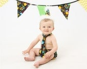 ON SALE Birthday Balloons cake smash outfit with party hat, Happy Birthday cake smash boys birthday,boys  birthday outfit, multi colored bal