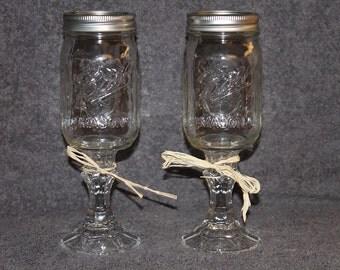 Set of two 16 oz Hillbilly/Redneck Mason Jar Glasses