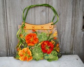 Unique felted bag with 3D nasturtium flowers with wooden vintage handles bags, designer's purse, nuno felted on silk fabric. OOAK