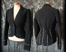 Gothic Black Fitted Tailored RINGMASTER Riding Jacket Tail Coat 8 10 Victorian