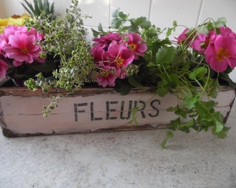 Window box Wooden flower Planter Vintage style in pale pink suitable for out door display