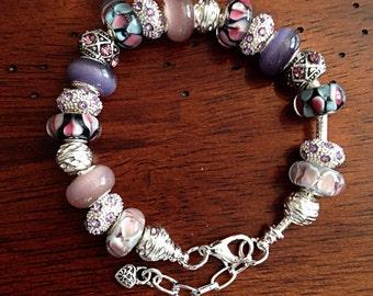 Cancer Awareness Jewelry, Bracelet, Thyroid Cancer Bracelet, Cancer Awareness Bracelet, Lampwork Bracelet, Breast Cancer Awareness Bracelet