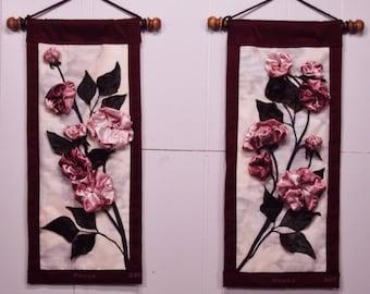 "Roses. Original art. Medium size 9"" x 20.25"". Matching set. Wall Hangings ON SALE"