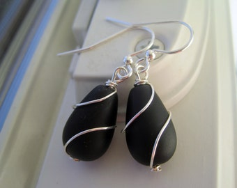 Black Sea Glass Earrings - Sea Glass Jewelry - Black Glass Jewelry - Wire Wrapped Earrings - Recycled Glass - Black Jewelry