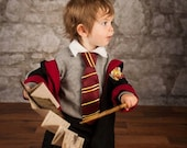 Harry Potter Inspired Toddler Striped Tie & Shirt Collar Combo for Gryffindor, Hufflepuff, Ravenclaw, Slytherin; Hogwarts Wizard Tie