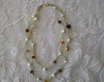 Hand Crafted Apple Green Ribbon Necklace with Faux Pearls