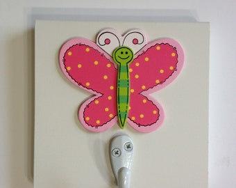 Pink Green and White Butterfly Single Wall Hook Girls Wall Decor Butterflies Room Decor